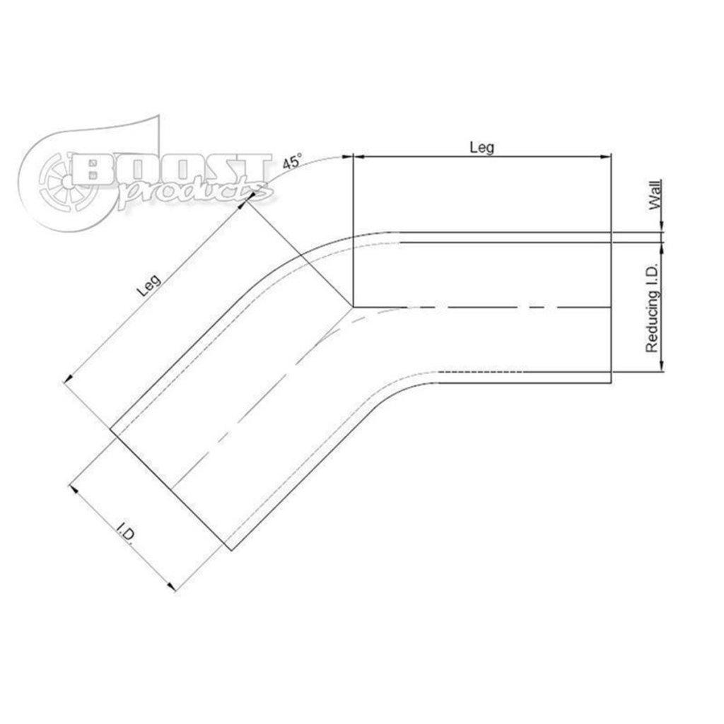 schwarz Ladeluft-Schlauch 51-45mm BOOST products Silikon Reduzierung
